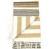 Clothing & Accessories Womens Wool Scarf - Camel Brown & White Striped Colourful Winter Scarves for Ladies - Lovarzi - Made in Scotland - Luxury Scarves for women