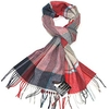 Clothing & Accessories Wool Scarf for Men - Red, Grey & Teal Striped & Checkered Winter Mens Scarves - Colourful Lambswool Men's Scarf - Lovarzi - Made in Scotland