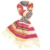 Clothing & Accessories Wool Scarf for Women - Pink & Cream Striped Winter Ladies Scarves - Women's Colourful Lambswool Scarf - Lovarzi - Made in Scotland