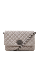 Handbags  - Yaz Quilted Light Grey Clutch