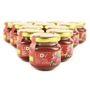 Raw Organic Forest Honey with Wild Cranberry (Loov) 12x150g