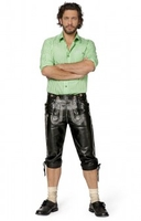 Clothing & Accessories|Trousers & Shorts  - Bavarian leather trousers Scott black nappa goatskin knee length h-beam