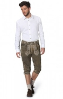 Trousers & Shorts|Traditional Costume  - Leather trousers knee length Rosso oldbrown