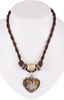 Traditional necklace uni with heart horn imitation 12189-8598 brown