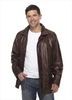 Clothing & Accessories Longer Length Leather Jacket in Brown
