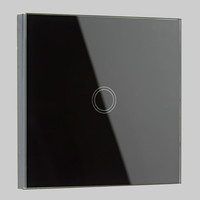 Lighting|Lighting Systems  - Biard 1 Gang Black Glass Designer Touch Light Switch