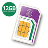 3 PAYG 4G Trio SIM Pack Incl. 300 Mins,  3000 Texts and 12GB of Data