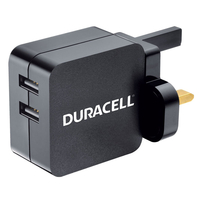Chargers & Charging Stations  - Duracell 4.8A Dual USB Mains Charger - Black