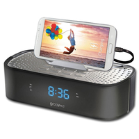 Radio/Cassette Players  - Groov-e TimeCurve Alarm Clock Radio with USB Charging Station - Black