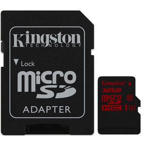 Kingston 32GB Micro SD Card (SDHC) UHS-I U3 + Adapter - 90MB/s