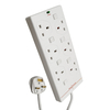 Tacima 6 Way Switched Surge Protection Mains Lead 2M - White