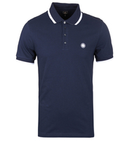 T-Shirts, Polos & Tops  - Pretty Green Navy Multistripe Short Sleeve Polo Shirt