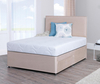 Lifestyle 4ft Small Double Memory Foam Divan Bed in Stone Suede