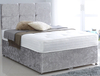 Divan Beds Premium Crushed Velvet Silver 4ft 6in Double Divan Bed Base only