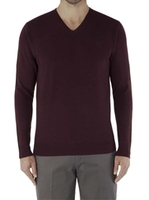 Jumpers  - Jeff Banks  Burgundy V Neck Jumper Sml Burgundy