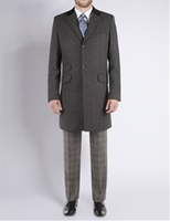 Coats  - Stvdio by Jeff Banks Charcoal Herringbone Overcoat 42R Charcoal