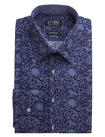 Blouses & Shirts  - Stvdio by Jeff Banks Navy Ornate Floral Print Shirt 16 Navy