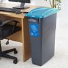 Office 70 Litre Recycle Bin with Blue Paper Recycling Lid and Labels