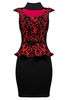 Laila Baroque Peplum Dress In Red