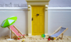 Knock on the door of imagination! Miniature Elf or Fairy Door and matching Deckchair set,  doorway to a Magical world - to let the Little People in!