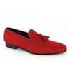 Shoes SUAVE Mens Suede Leather Chisel Toe Tassel Loafers Red