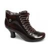 Boots VIVIANNA Ladies Polished Leather Lace-Up Zip Boots Brown