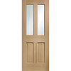 Malton Oak Door without Raised Mouldings,  1/2 Hour Fire Rated - Clear Fire Rated Clear Glass