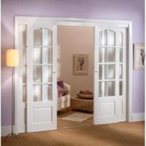 Interior Room Dividers  - Norbury Oak SPH8O Room Divider - Door Pair, Side Panels, Frame & Glass