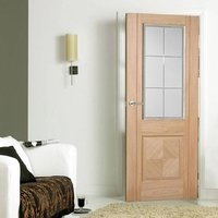 LPD Glazed Doors  - Valencia Oak Door with Lacquer Finishing and Frosted Safety Glass with Clear Bevel Edges