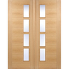 Vancouver Oak 4L Door Pair with Clear Glazed Offset and Pre-finished