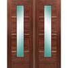 Verde Nova Walnut 1L Door Pair with Clear Glass,  Pre-Finished,  30 Minute Fire Rated