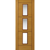 Zodiac Flush Virgo Oak Veneer Door with Bevelled Clear Safety Glass