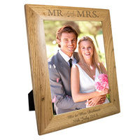 Personalised Wedding Gifts  - Mr & Mrs Personalised Wooden Photo Frame