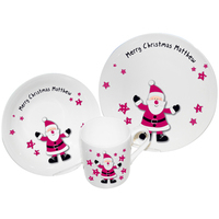Personalised Christmas Presents  - Spotty Santa Breakfast Set