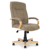 Office Chairs > Executive Office Chairs > Fabric Mushroom Microfibre Executive Armchair with Oak Effect Arms and Base
