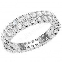 Eternity Rings Full > Platinum Full Eternity Rings  - JEW134PL - Platinum 3.75mm wide wedding/dress ring with 2 rows of claw set round brilliant cut diamonds going all the way around.