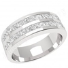 JEW140PL - Platinum 5.2mm wide eternity/wedding ring with 2 rows of channel set princess cut diamonds