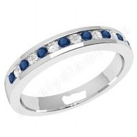 Coloured Gemstone Rings > Sapphire Diamond Rings > 9ct White Gold Sapphire Diamond Rings  - JEWS061/9W - 9ct white gold 2.9mm eternity ring with 8 round sapphires and 7 round brilliant cut diamonds in a channel setting