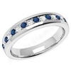 Coloured Gemstone Rings > Sapphire Diamond Rings > 9ct White Gold Sapphire Diamond Rings JEWS084/9W - 9ct white gold 3.75mm eternity ring with 9 round sapphires and 8 round brilliant cut diamonds in a claw setting