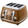 Delonghi Icona Vintage 4 Slot Toaster - Tan Leather Brown
