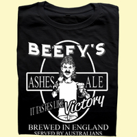 Sporting T-Shirts>Cricket T-Shirts  - IAN BOTHAM inspired BEEFYS ASHES ALE cricket T-shirt