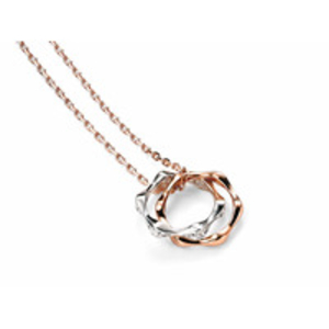 Womens Jewellery > Necklaces  - Womens Entwined Silver And CZ And Rose Gold Plated Disc Necklace