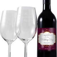 Birthday Gifts > Glasses  - Wedding Red Wine and Two Glasses