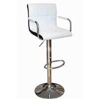 Bar Stools  - Chic White Faux Leather Square Panelled Bar Stool