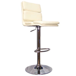 Bar Stools  - Cream Chester Panelled Faux Leather Bar Stool