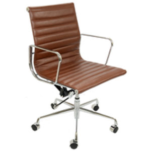 Office Chairs  - Eames 117 Vintage Brown Faux Leather Office Chair