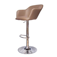 Bar Stools  - Taupe Hudson Style Leather Look Breakfast Bar Stool