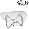 Elite Glass Triangular Coffee Table Silver Base