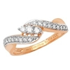 18K Rose Gold Diamond Twist 3 Stones Ring with Diamond Shoulder Set