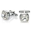 Cuff Links Stainless Steel Cuff Links with Silver Swarovski Elements
